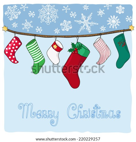 Hanging stockings for Christmas gifts. Hand drawn vector illustration. - stock vector