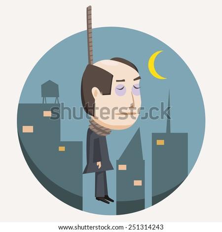 hanging suicide businessman - stock vector