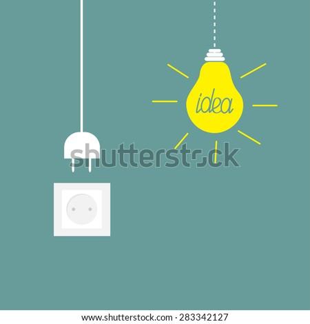 Hanging yellow light bulb, socket, cord plug. Idea concept. Flat design Vector illustration. - stock vector