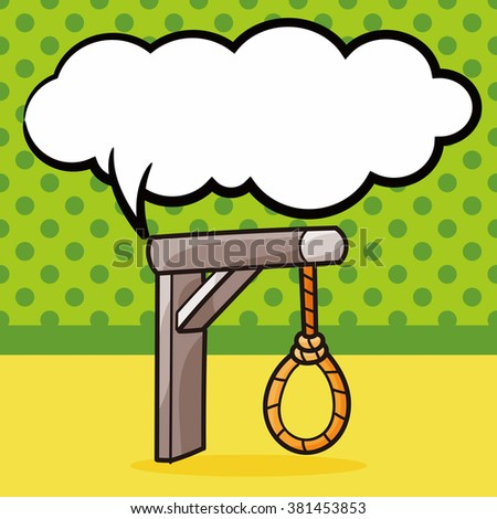 hangman doodle, speech bubble - stock vector
