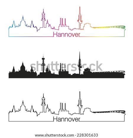 Hanover skyline linear style with rainbow in editable vector file - stock vector