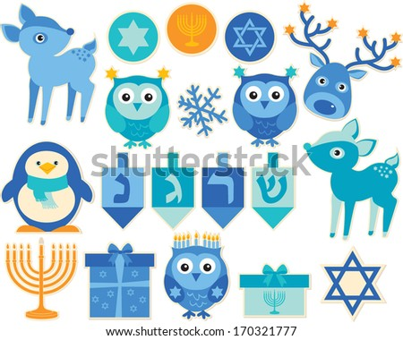 Hanukkah Celebration and Animals - stock vector