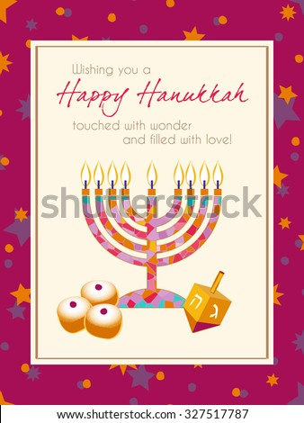 Hanukkah Greeting card design vector template. Jewish Light Festival greeting card, wallpaper / background. Hanukkah menorah with candles, spinning dreidel with Hebrew letters & traditional donuts. - stock vector