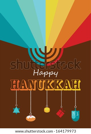 hanukkah infographics, hanukkah menorah with rainbow lights - stock vector