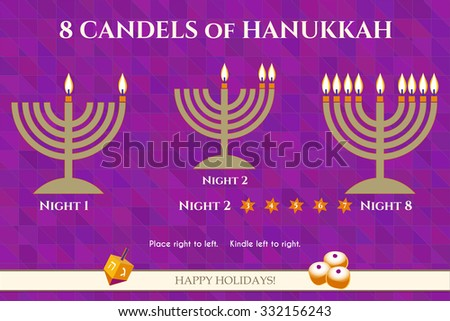 Hanukkah menora candles lighting order explanation vector infographics. Jewish Light Festival greeting card, party invitation, flyer template. Hanukkah traditional symbols. Sample text. - stock vector