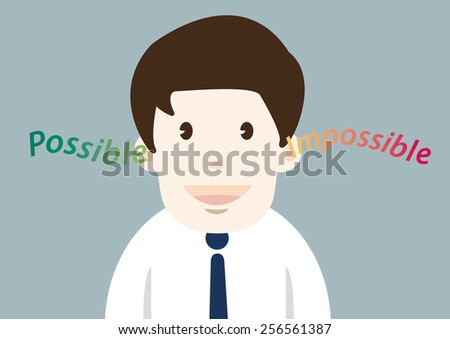 Happiness businessman with possible thinking - stock vector