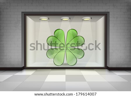 happiness in illuminated storefront vitrine vector concept illustration - stock vector