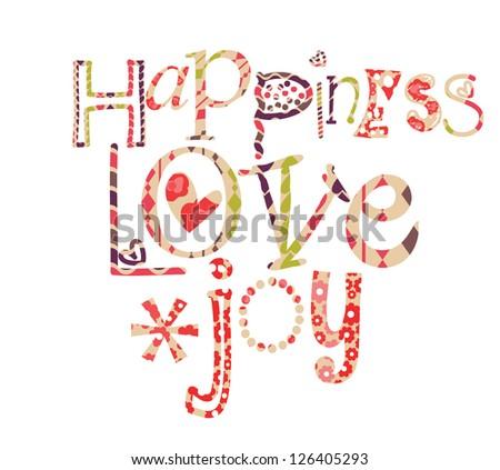 happiness love joy - stock vector