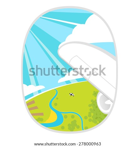 Happiness summer landscape from the window of an airplane - stock vector