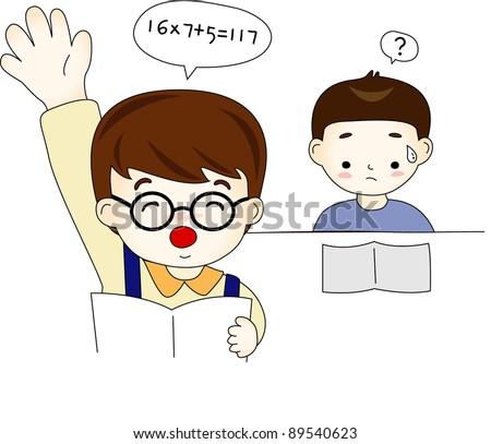 Happy Academic Life - with little schoolboys - stock vector