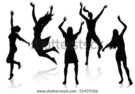Happy active women silhouettes - stock vector