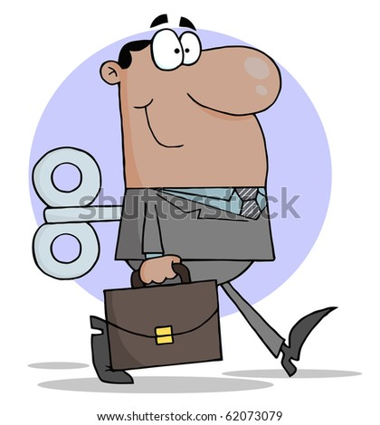 Happy African American Businessman With Wind-up Key In His Back - stock vector