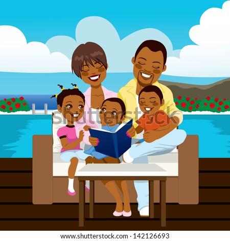 Happy African American family reading a book or looking a photo album sitting on outdoor sofa at the pool side - stock vector