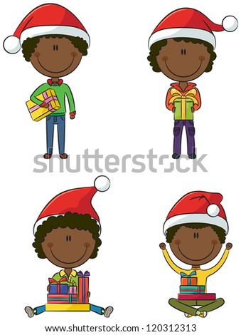 Happy African-American Santa boys with different christmas presents - stock vector