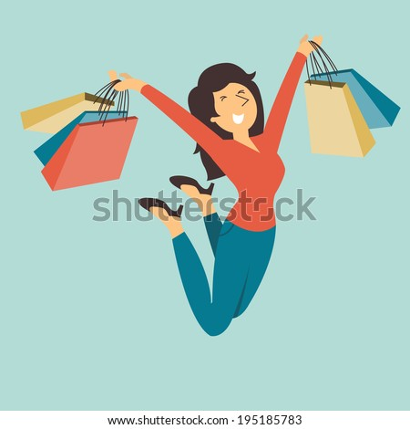 Happy and cheerful pretty woman jumping in the air with shopping bag in her hands.  - stock vector