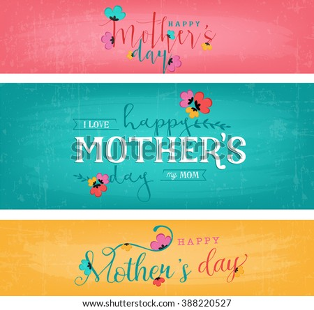 Happy and Colorful Floral Mother's Day Design Greeting Card Set - stock vector