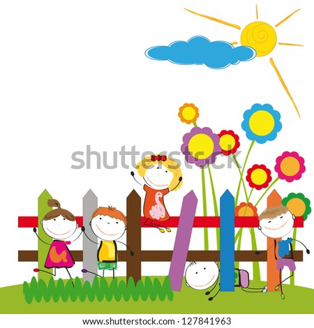Happy and cute boys and girl in garden - stock vector