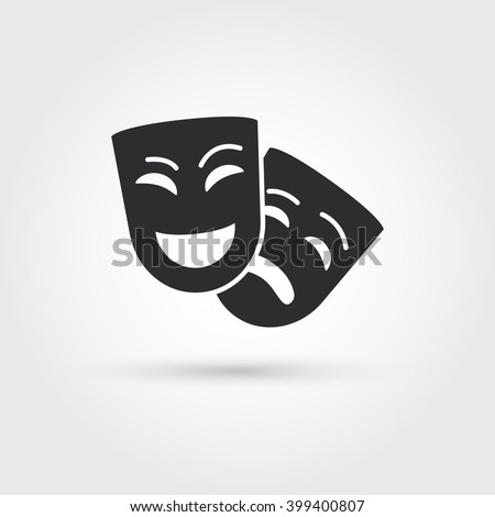 happy and sad masks - stock vector
