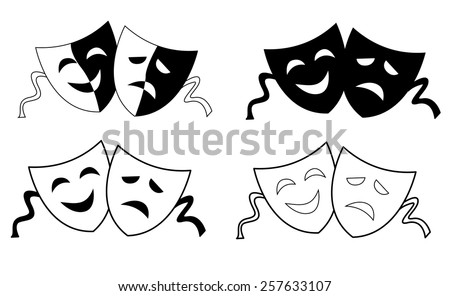 Happy and sad theater masks / faces silhouette isolated on white background  - stock vector