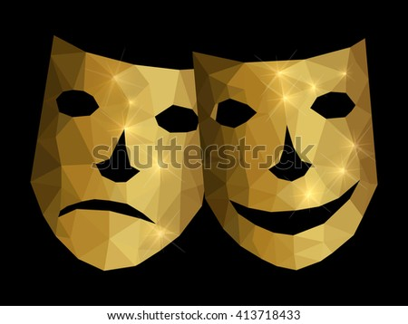 Happy and unhappy mask - stock vector