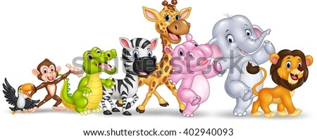 Happy animal africa isolated on white background - stock vector