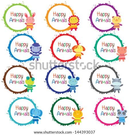 happy animals message board set - stock vector