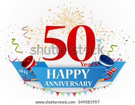 Happy anniversary celebration design - stock vector