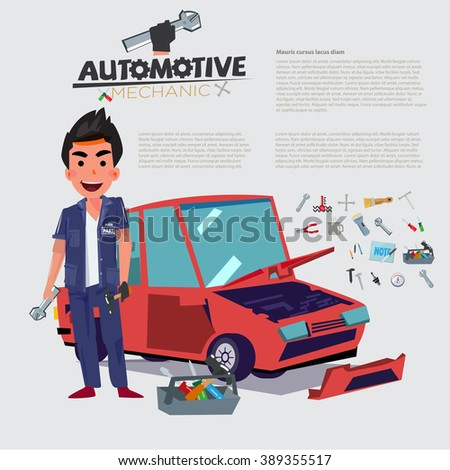 Happy Auto Mechanic character design with car in behind. set of equipments - vector illustration - stock vector
