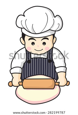 happy baker making fresh bakery, cartoon character, vector design - stock vector