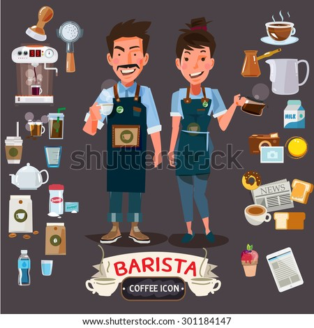 happy barista man and women holding cup and jug. character design with set of coffee and barista's equipment - vector illustration - stock vector