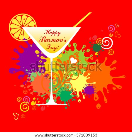 Happy Barman's day! Greeting card. Celebration background with cocktail glass and place for your text. vector illustration  - stock vector
