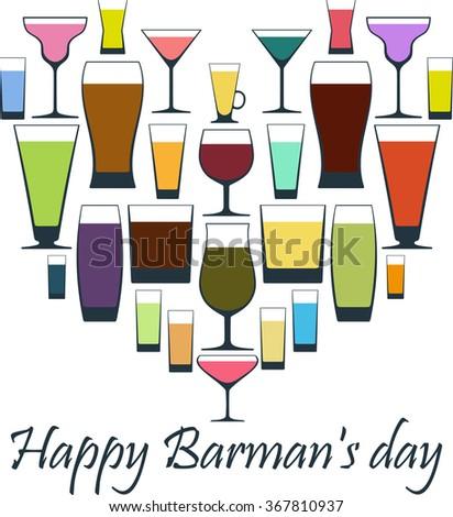 Happy Barman's day vector illustration. Greeting card. - stock vector