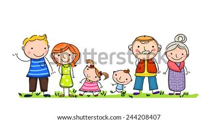 Happy big family with children - stock vector