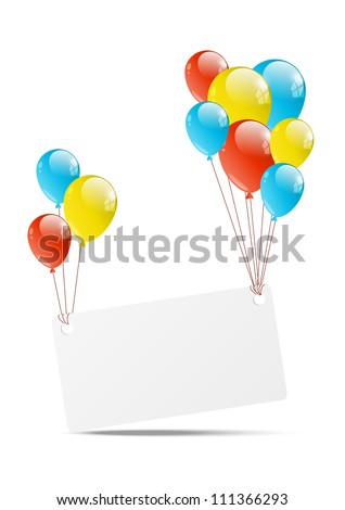 Happy Birthday background with banner and balloon - stock vector