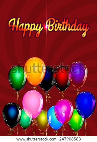 Happy Birthday Balloon Background with Gold Streamers . Vector Illustration. - stock vector
