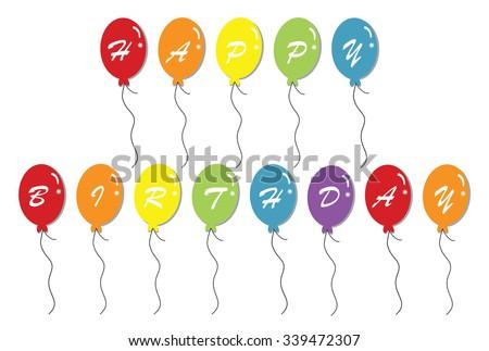 Happy Birthday Balloons - stock vector