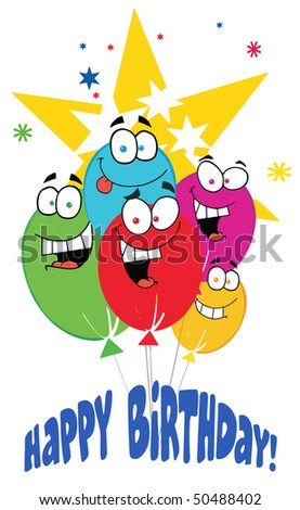 Happy Birthday Baloons With Stars With Text Happy Birthday! - stock vector