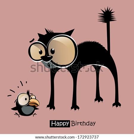 Happy Birthday bird cat smile - stock vector