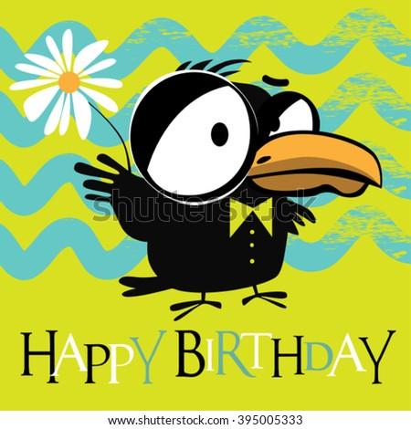 Happy Birthday birds smile card - stock vector