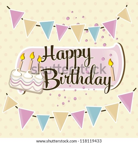 happy birthday, bunting, cake and candles - stock vector
