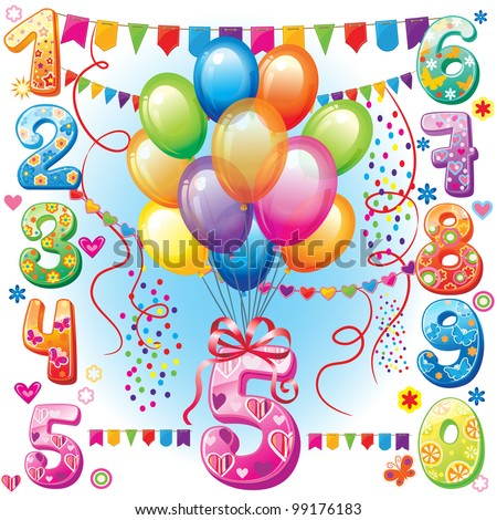 Happy Birthday cake, numbers and candles - stock vector
