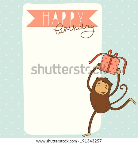 Happy Birthday card background with monkey - stock vector