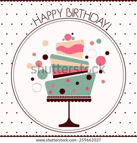 Happy Birthday card , birthday cake with decorations - stock vector