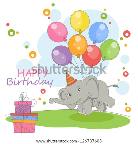 Happy Birthday card. Colorful illustration with cute flying elephant on a balloons and gift. Vector - stock vector