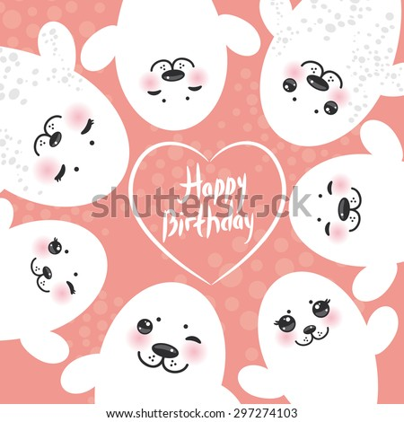 Happy birthday card design Funny white fur seal pups, cute winking seals with pink cheeks and big eyes. Kawaii albino animals on pink background. Vector - stock vector