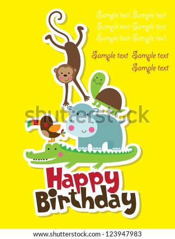 happy birthday card design. vector illustration - stock vector