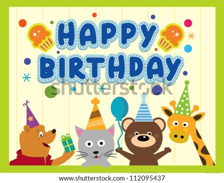Happy birthday card design with cute animals - stock vector