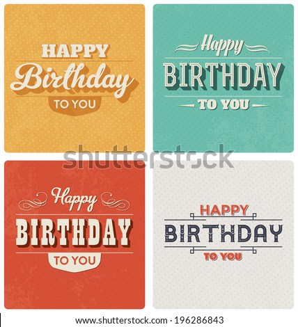 Happy Birthday Card - Retro Style Design Set - stock vector