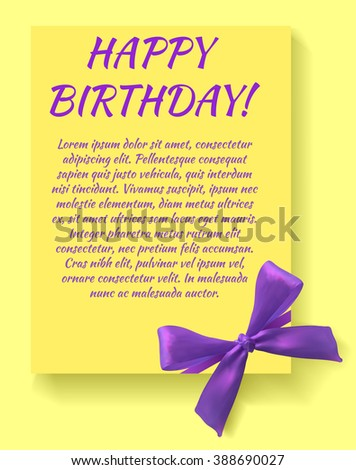 Happy birthday card template with purple bow. Yellow card. VECTOR template. - stock vector