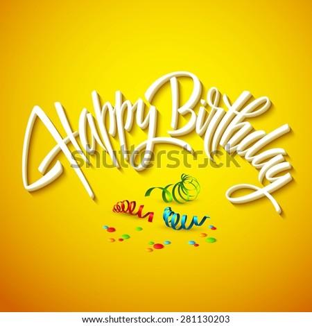 happy birthday card typography. Vector illustration EPS 10 - stock vector